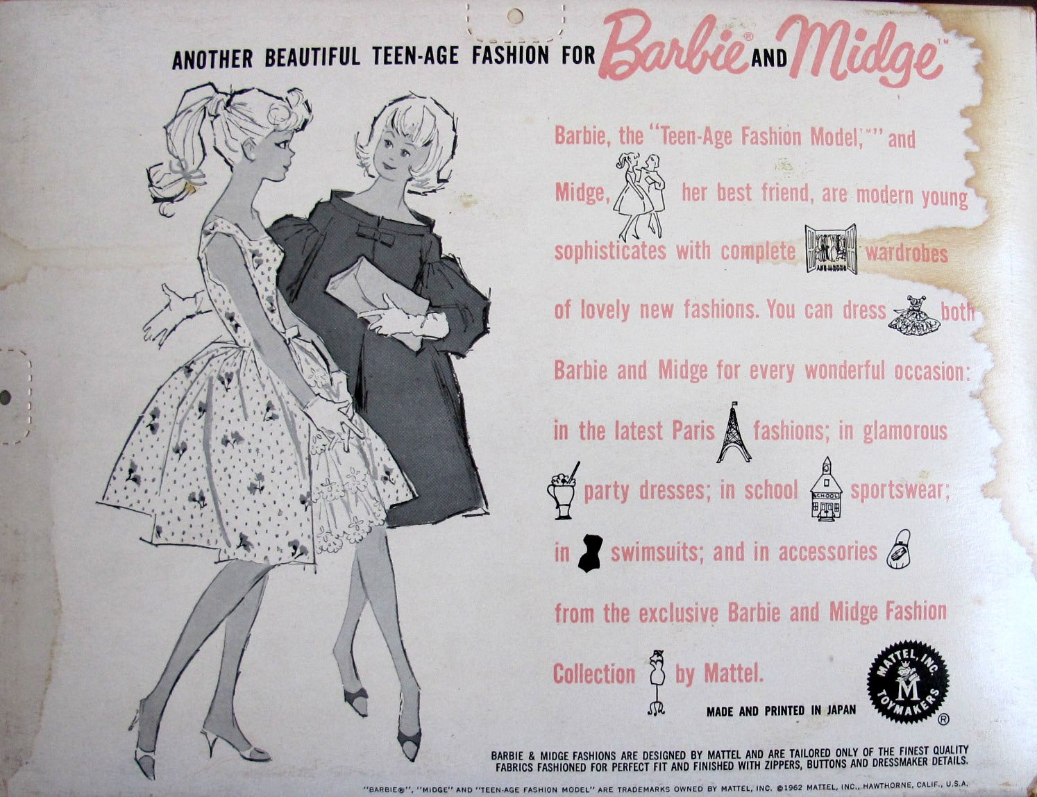 Modern dressmaker buttons - Amazon Com Barbie Teen Age Fashions For Barbie And Midge Doll Graduation Outfit 1962 Mattel Hawthorne Toys Games