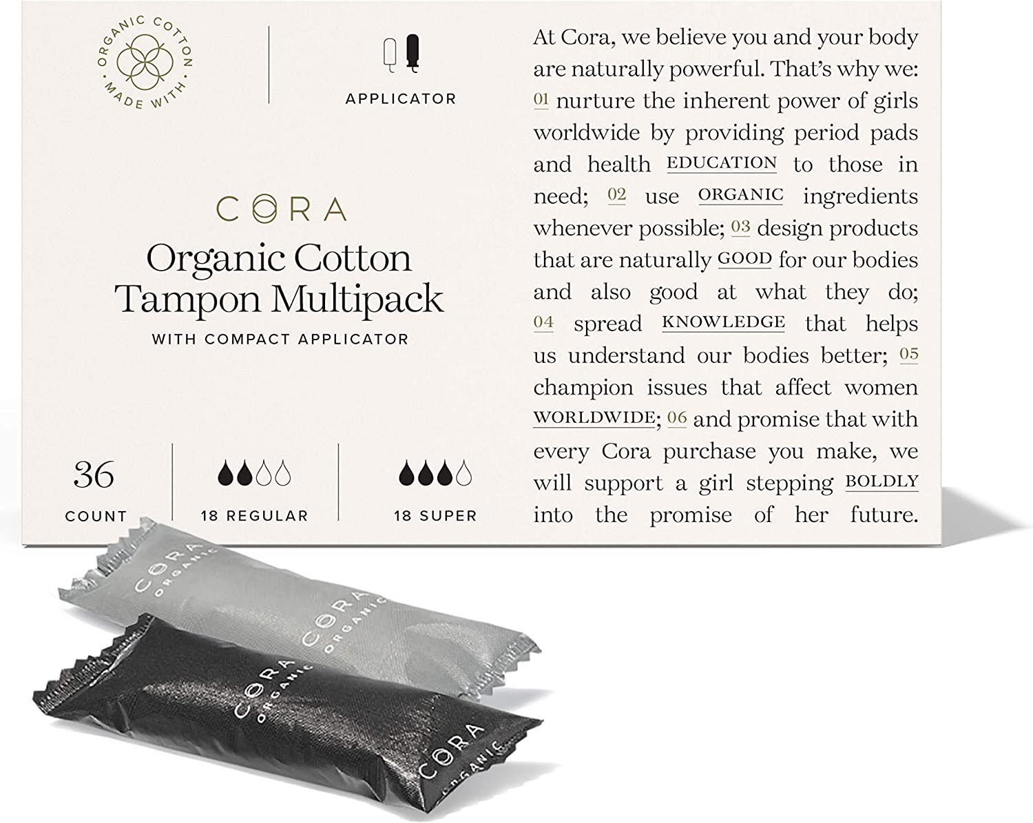 Cora Organic Cotton Tampons with BPA-Free Plastic