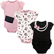 Little Treasure Baby Cotton Bodysuits, Pearls 3Pk Short Sleeve 12-18 Months (18M)