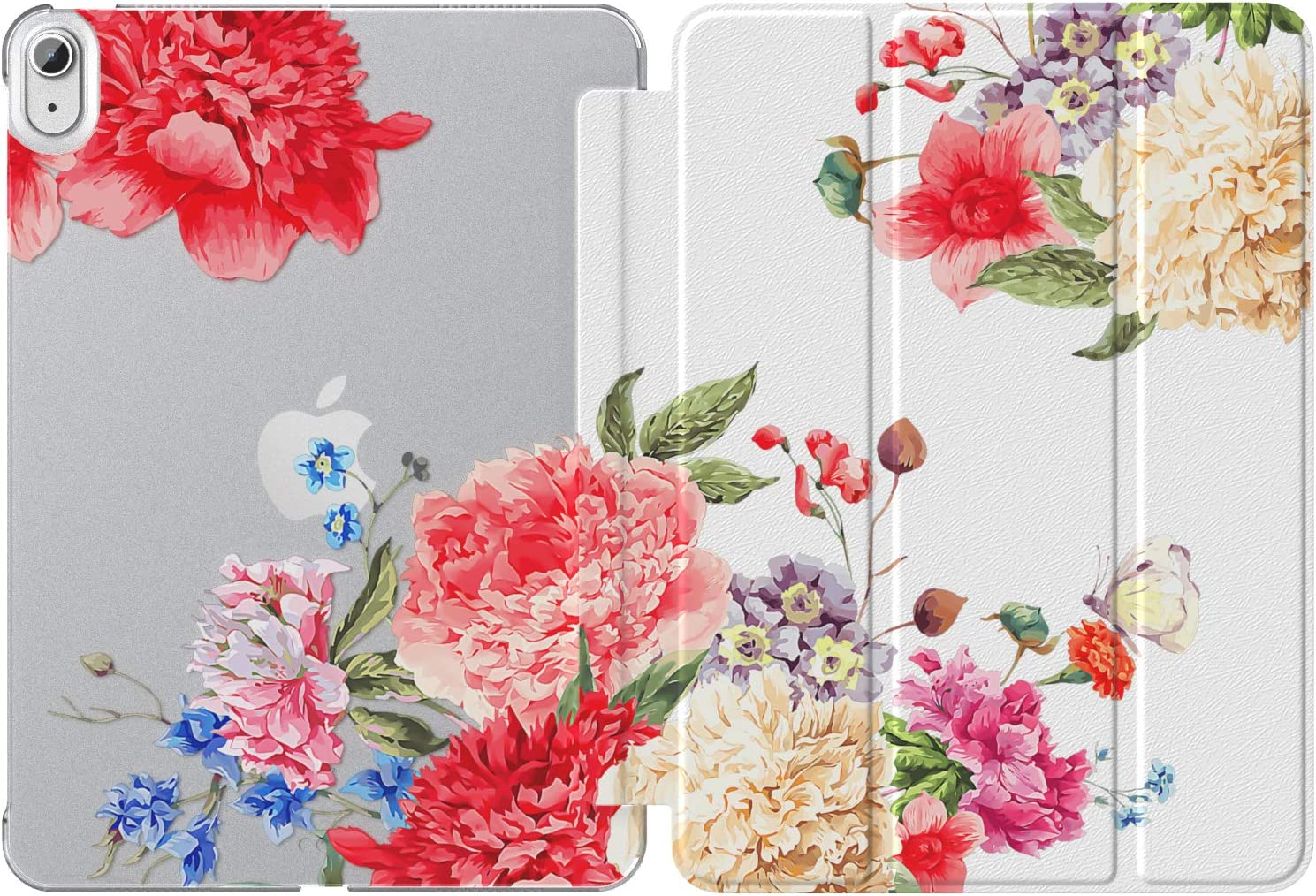 MoKo Case Fit New iPad Air 4th Generation 2020 - iPad Air 4 Case 10.9 inch Slim Lightweight Shell Stand Cover with Translucent Frosted Back Protector for iPad Air 4, Auto Wake/Sleep,Flowers Blossom