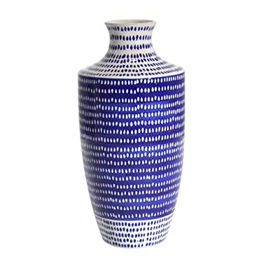 Sagebrook Home 12351-02 Ceramic Vase, Blue/White Ceramic, 7 x 7 x 15.5 Inches