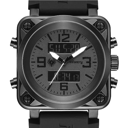 INFANTRY - Reloj de Pulsera para Hombre, Doble Pantalla, táctico, Militar, Deportivo, multifunción, Correa de Silicona, Color Negro: Amazon.es: Relojes