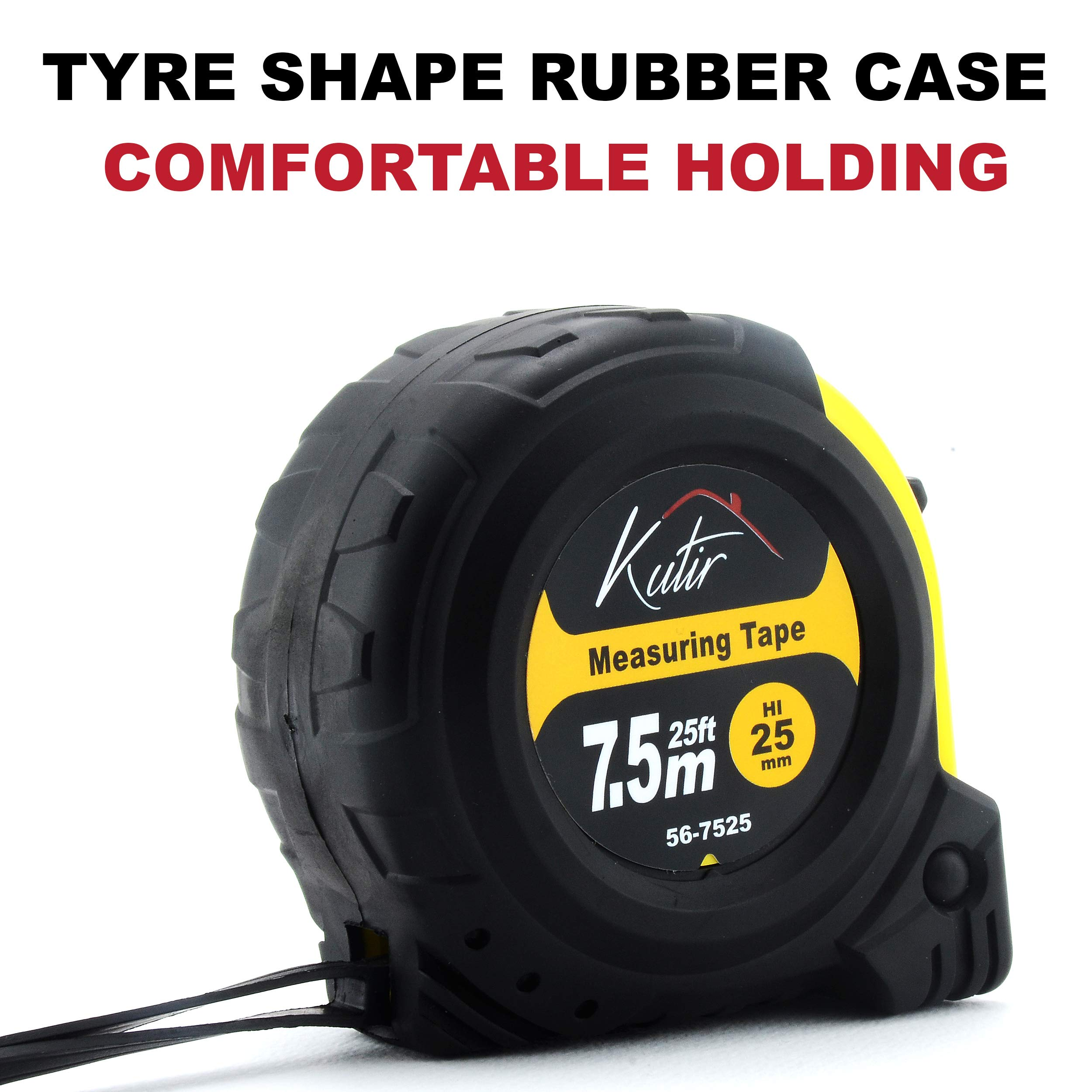 Measuring Tape Measure By Kutir - EASY TO READ 25 Foot BOTH SIDE DUAL RULER, Retractable, STURDY, Heavy Duty, MAGNETIC HOOK, Metric, Inches and Imperial Measurement, SHOCK ABSORBENT Solid Rubber Case by Kutir (Image #4)