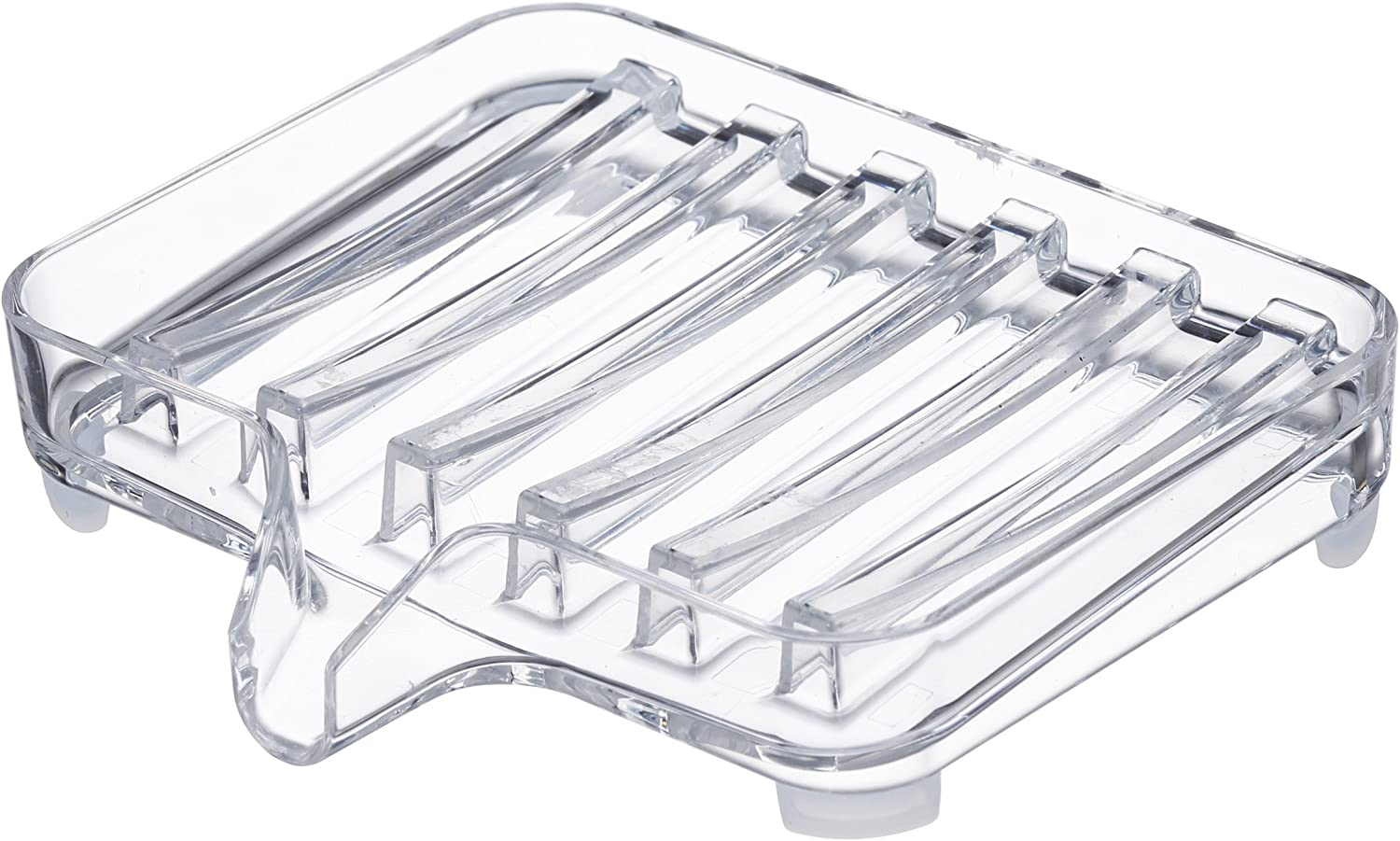 YAMAZAKI home Self-Draining Soap Tray - Sink Counter Holder Dish Space saving, One Size, Clear