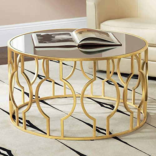 Fara 35 1 2 Wide Gold Leaf Round Coffee Table – 55 Downing Street