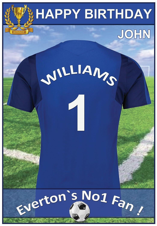 Personalizado Everton camiseta de fútbol Tarjeta de cumpleaños: Amazon.es: Oficina y papelería