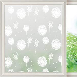 Viseeko Privacy Window Film Non-Adhesive Window Film Frosted Static Cling Glass Film Dandelion Patterns Window Stickers for Doors Home Living Room Kids Bedroom (17.5 x 78.7Inches)