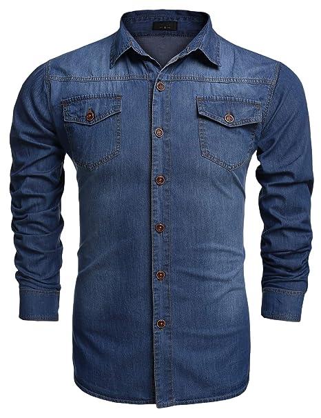 5d8f035c1de18 Coofandy Camisa Vaquera Hombre Pecho Bolsillo con Botones Manga Larga Casual   Amazon.es  Ropa y accesorios