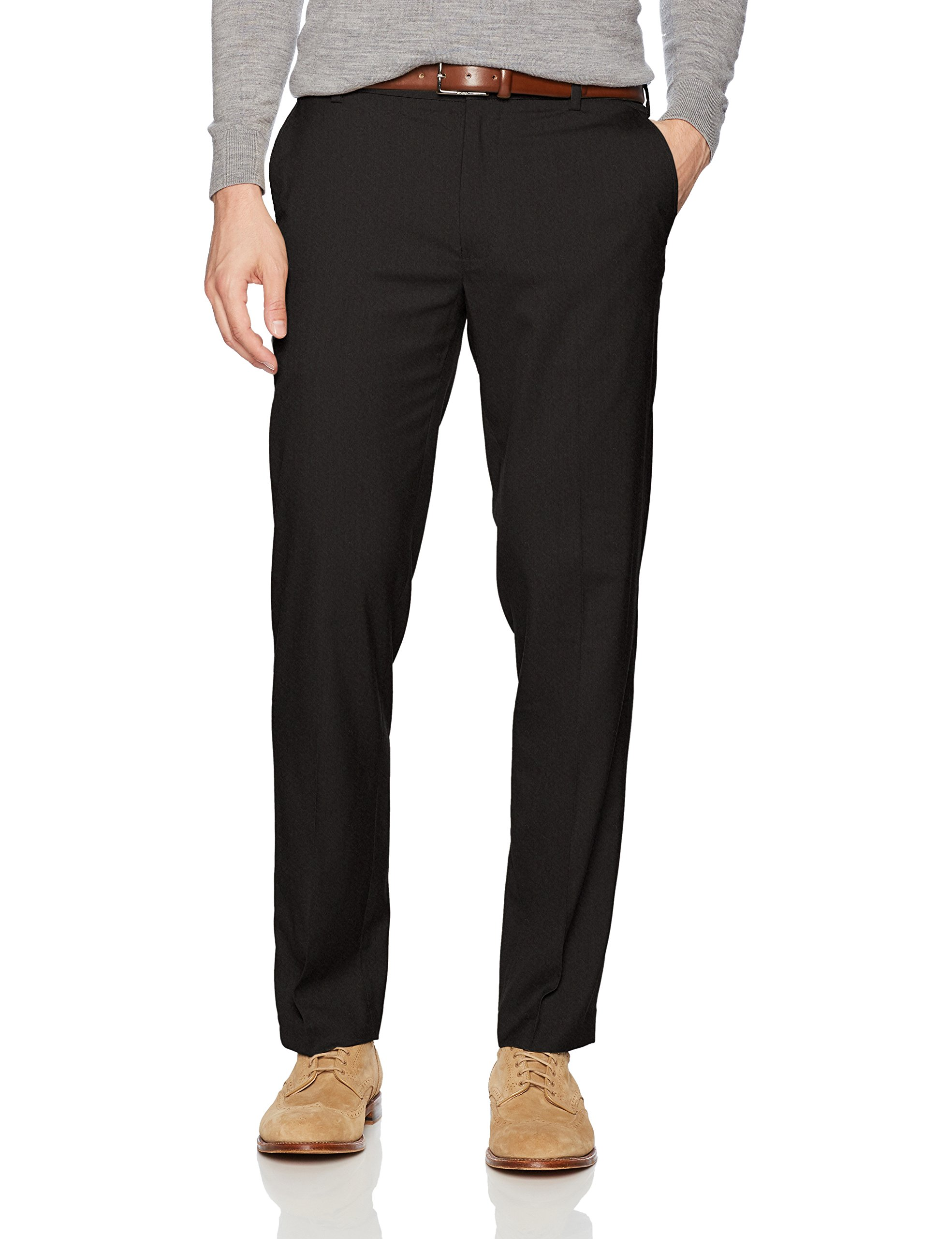 Van Heusen Men's Air Straight Fit Pant, Black, 33W X 30L by Van Heusen (Image #1)