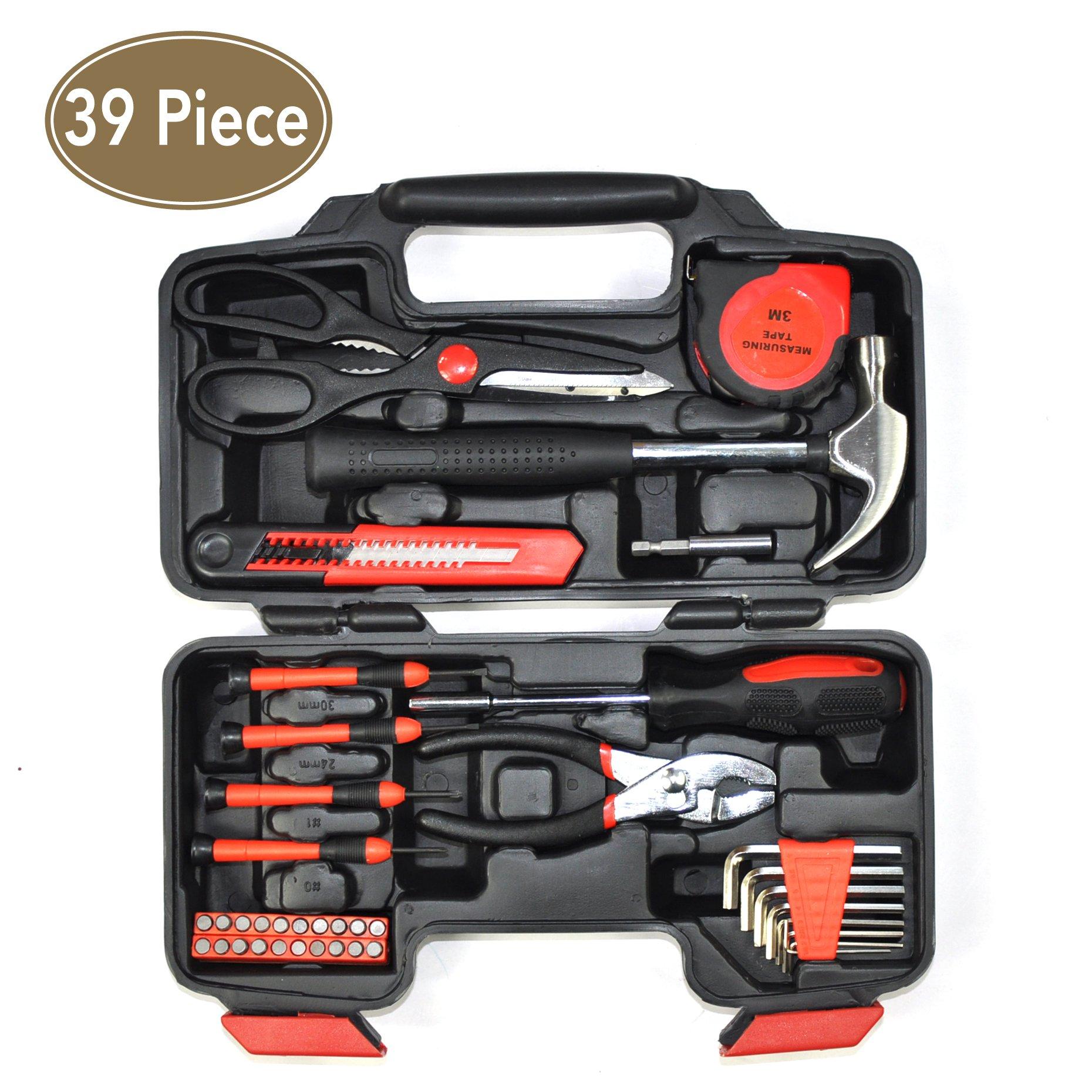 39 Piece home repair tools tool set Multi-Tool Kit general repair hand tool set with tool box storage case 80001M