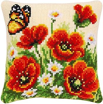 Amazon.com: Poppy Kit de cojín de punto de cruz – contiene ...