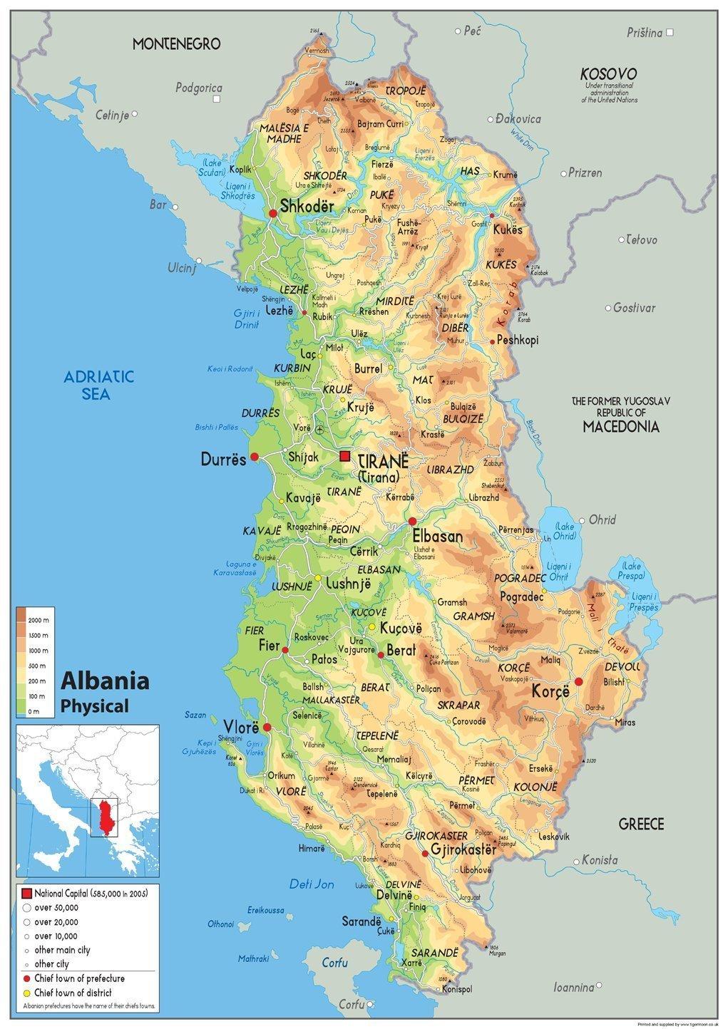 Albania Cartina Geografica.Mappa Fisica Dell Albania Lingua Italiana Non Garantita Carta