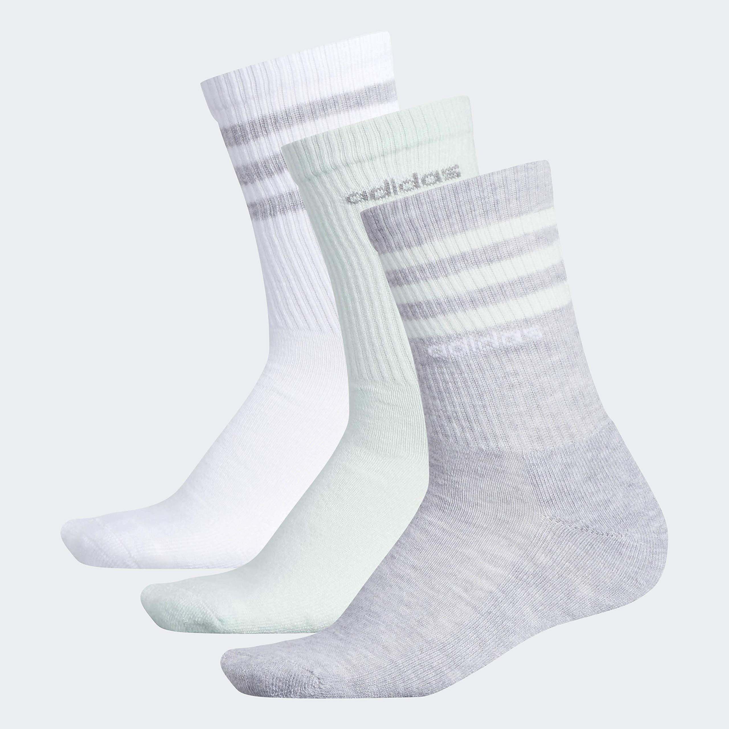 adidas Women's 3-Stripe Crew Socks (3-Pair), Heather Light Grey/Clear Mint/White/Light Onix, Medium, (Shoe Size 5-10) by adidas