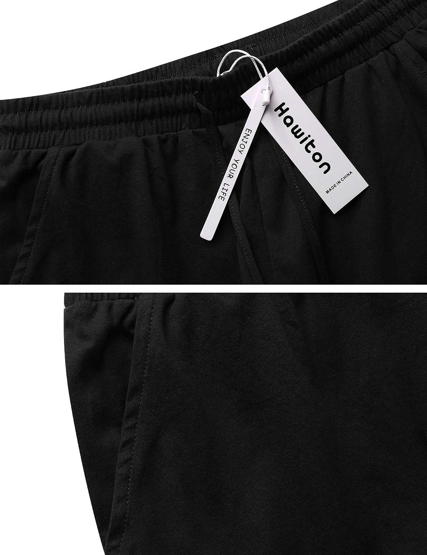 Hawiton Pantaloni Pigiama Uomo in Cotone Pantaloni Sportivi Lungo Pantaloni Casuale Tinta Unita Pantaloni Casa per Autunno e Inverno