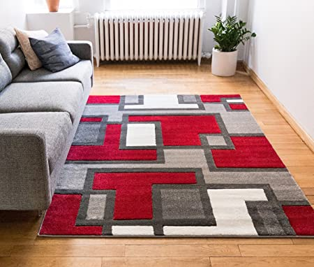 Uptown Squares Red Grey Modern Geometric Comfy Casual Hand Carved Area Rug 160 X 220