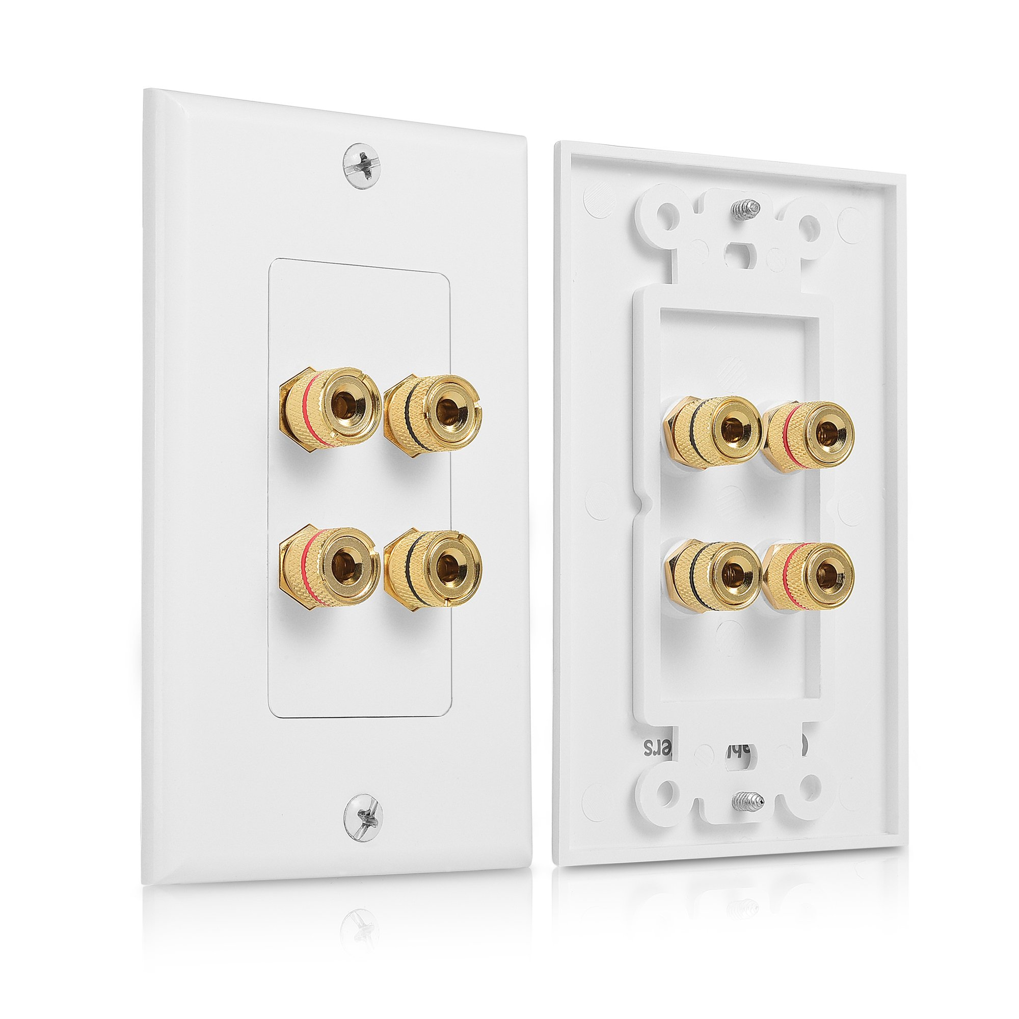 Cable Matters 2-Pack Speaker Wire Wall Plate (Speaker Wall Plate / Banana Plug Wall Plate) for 2 Speaker in White