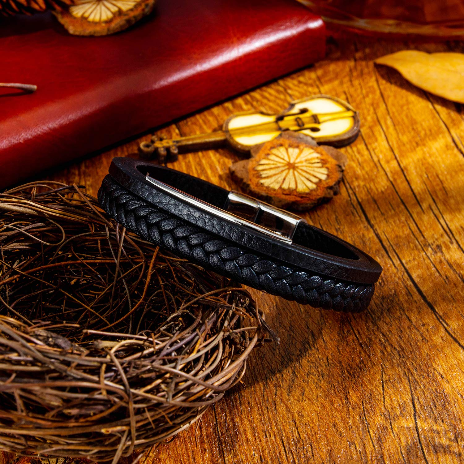 GAGAFEEL Leather Classic Braided Rope Bracelet Custom Engraved Message Stainless Steel Bangle Unisex Gift (Black-Engrave 2 Side-Length 21.5cm)