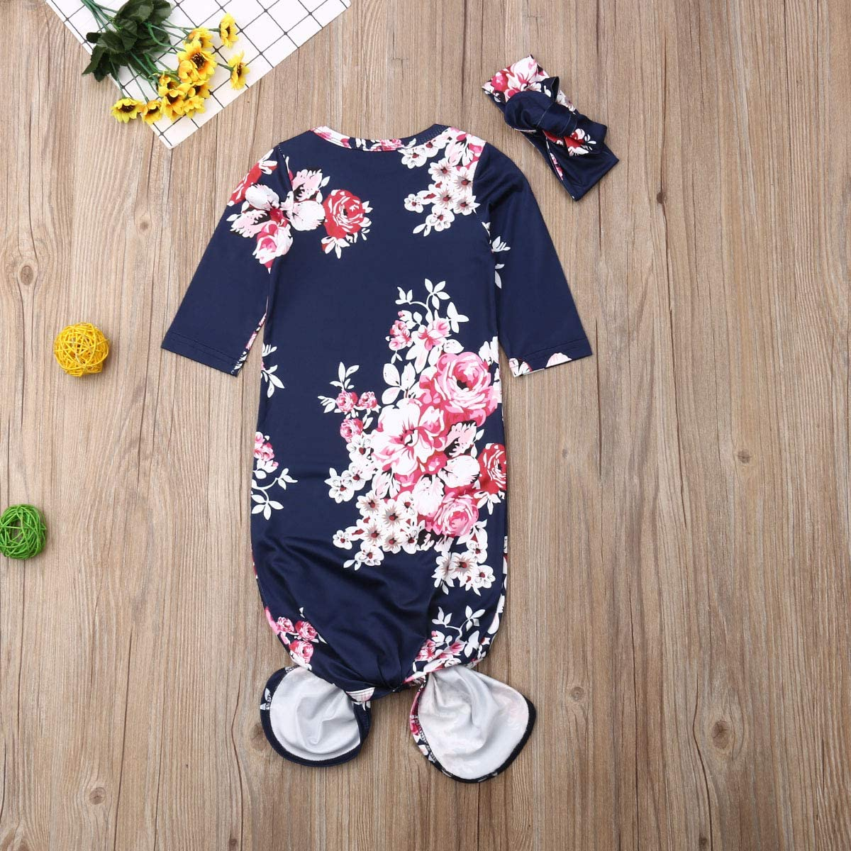 Newborn Baby Girls Floral Sleepwear Gown Cotton Swaddle Wrap Knotted SleepingBags with Headband