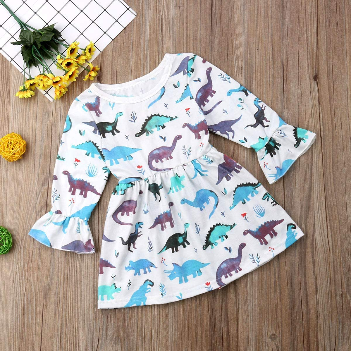 Toddler Baby Girl Long Sleeve Flare Dress Dinosaur Round Neck Casual Top Dresses