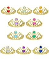 Tiaras and Crowns for Little Girls Princess Dress Up Plastic Gold Tiara Mix Color (10 Pack)