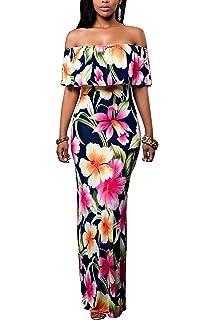 57ee1221e75 Suimiki Vintage Ruffle Plain Floral Printed Off Shoulder Bodycon Long Party Maxi  Dress