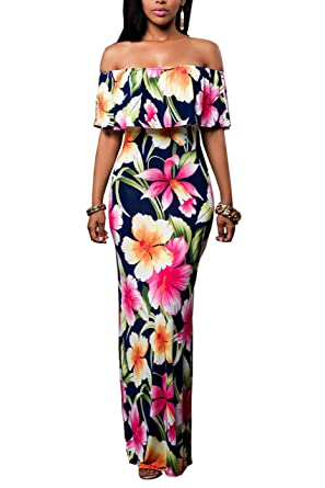 ff75a554f3573 Suimiki Vintage Ruffle Plain Floral Printed Off Shoulder Bodycon Long Party  Maxi Dress Navy Small