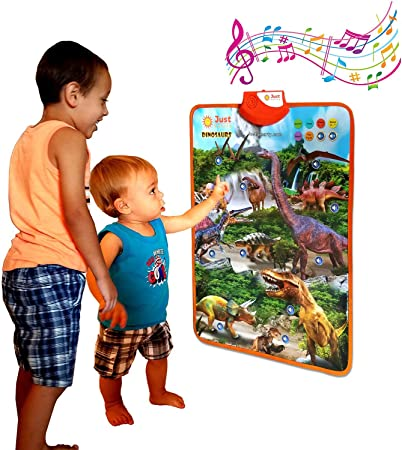 Amazon Com Just Smarty Dinosaur Interactive Learning Poster And Dinosaur Toys For Kids 3 5 With Music Games And Educational Activities For Toddlers Boys And Girls Age 2 3 4 5 Includes 4 Realistic Toy Figurines Toys