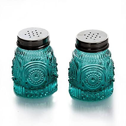 Teal salt and pepper shaker