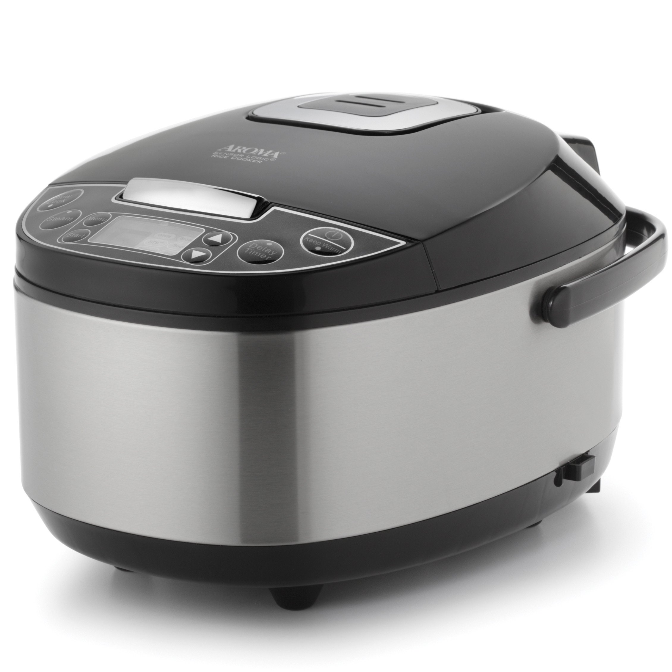 12-Cup Oval Shape Professional Stainless Steel Multifunction Non-Stick Rice Cooker/Food Steamer/Slow Cooker w/ Digital Control Temperature Settings, Warming Setting & Steaming Basket