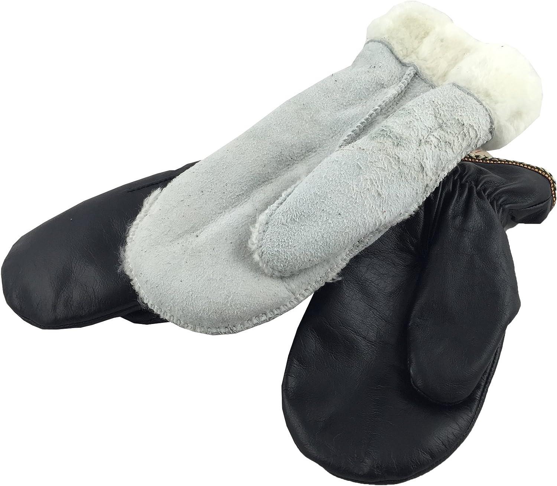 Laurentian Chief Mens Sheepskin Lined Black Genuine Leather Mittens