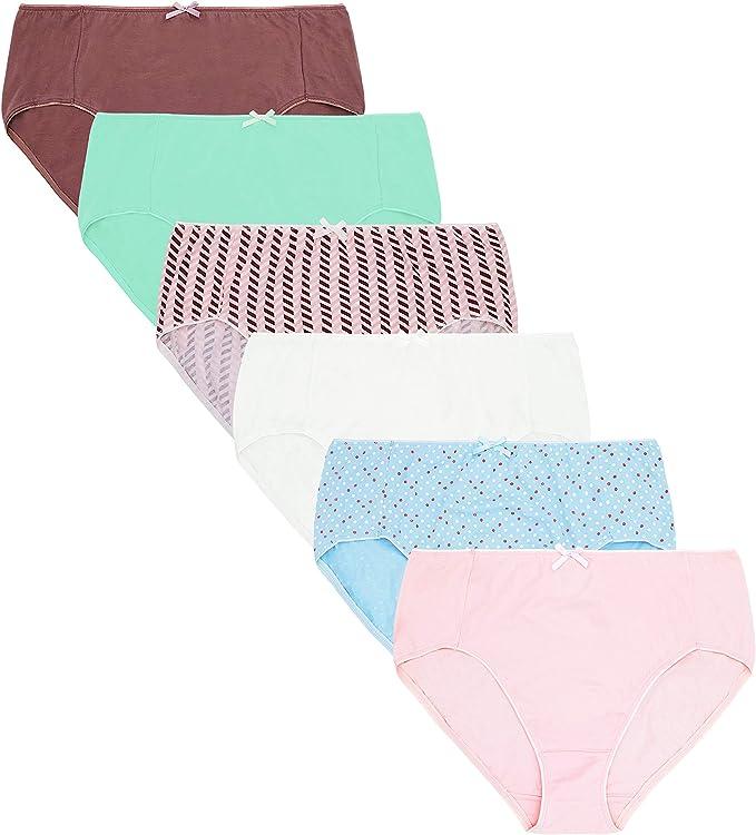 Curve Muse - Tallas Grandes, 100% algodón, Cintura Alta, Bragas, Ropa Interior-Paquete de 6-PACKB-50/52: Amazon.es: Ropa y accesorios