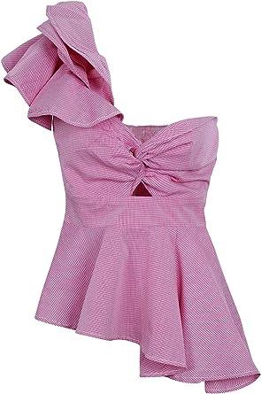 Simplee Mujeres Sexy un Hombro Vestido de Volantes Camisa Blusa Peplum Top