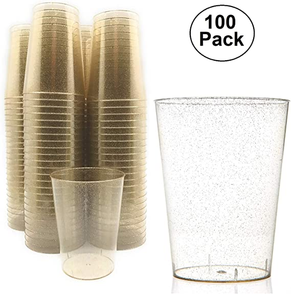 100 pc 10 Ounce Gold Glitter Disposable Plastic Cups 10 oz BPA-Free Durable Ideal for Home Office, or Business Wedding Bridal Shower Baby Shower Gold Glitter theme