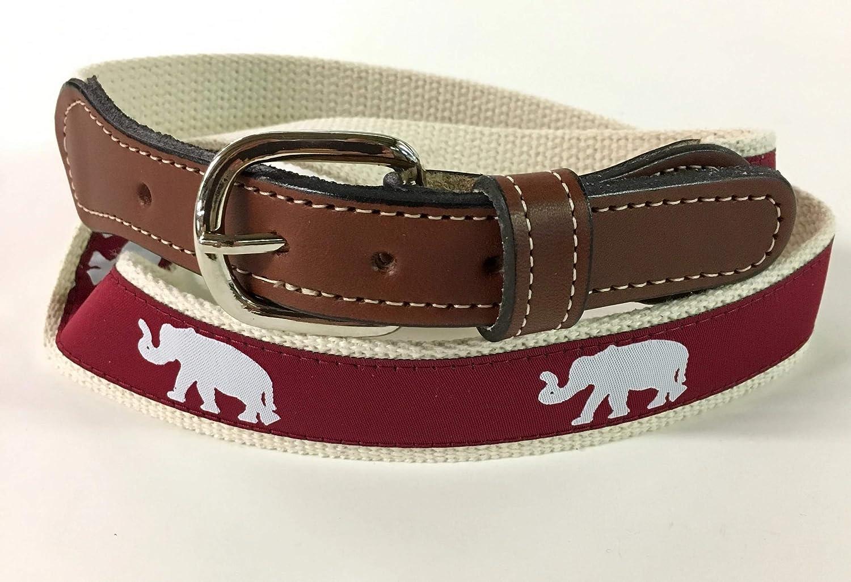 University of Alabama Elephant web Leather Belt
