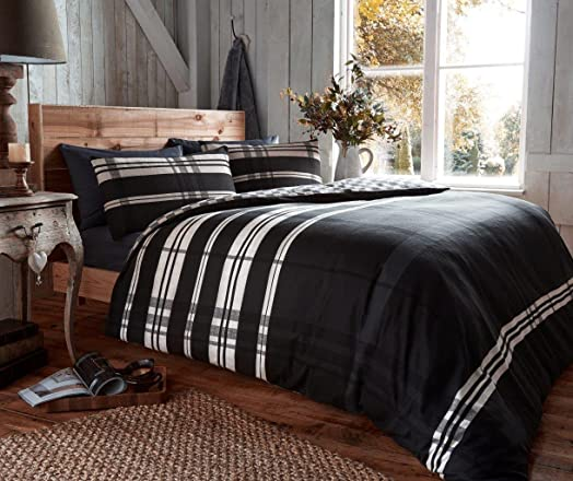 100 brushed cotton flannelette king bed duvet cover bedding set omega black