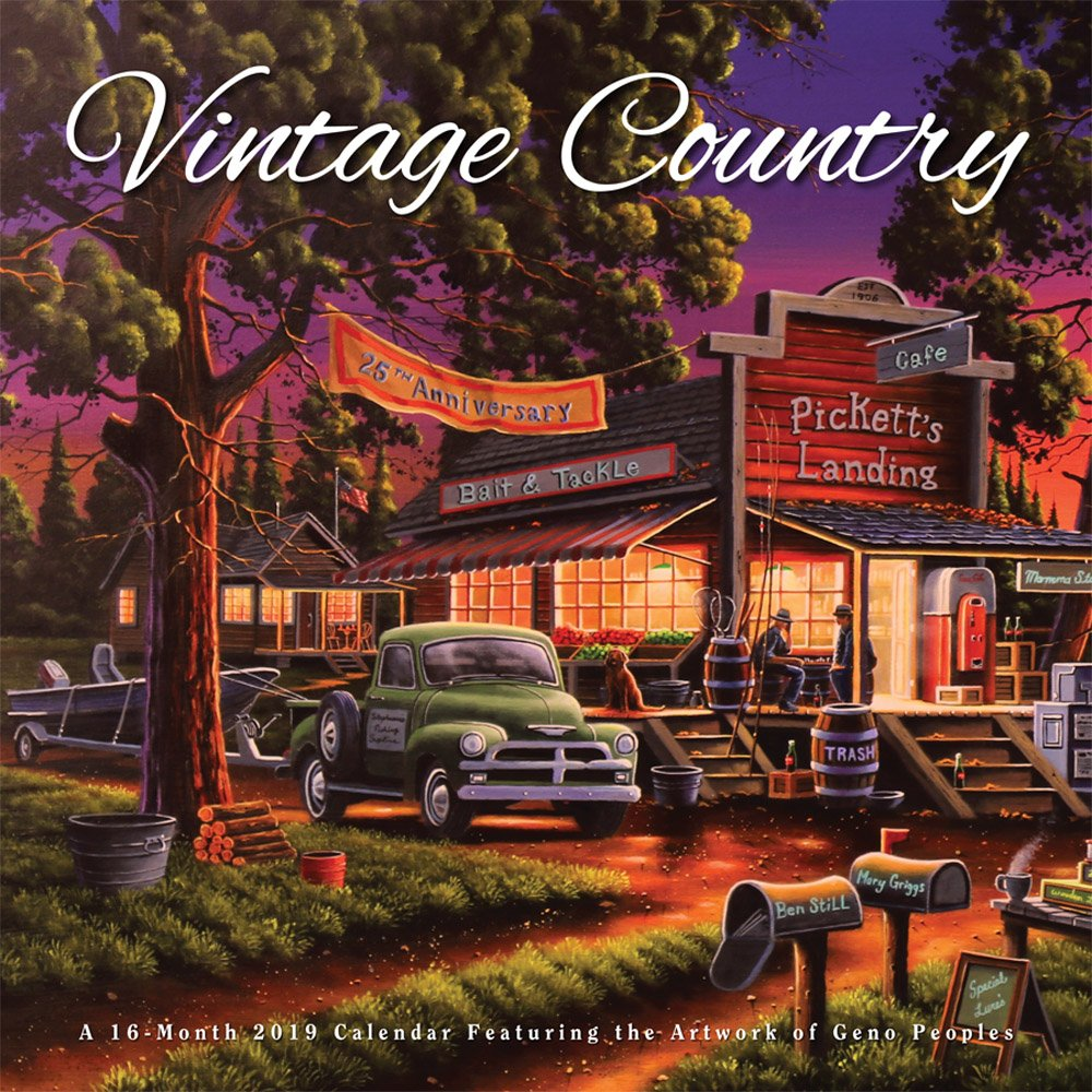 Vintage Country 2019 12 x 12 Inch Monthly Square Wall Calendar by Hopper Studios Featuring Artwork by Lynn Garwood, Cars and Trucks Art Artist