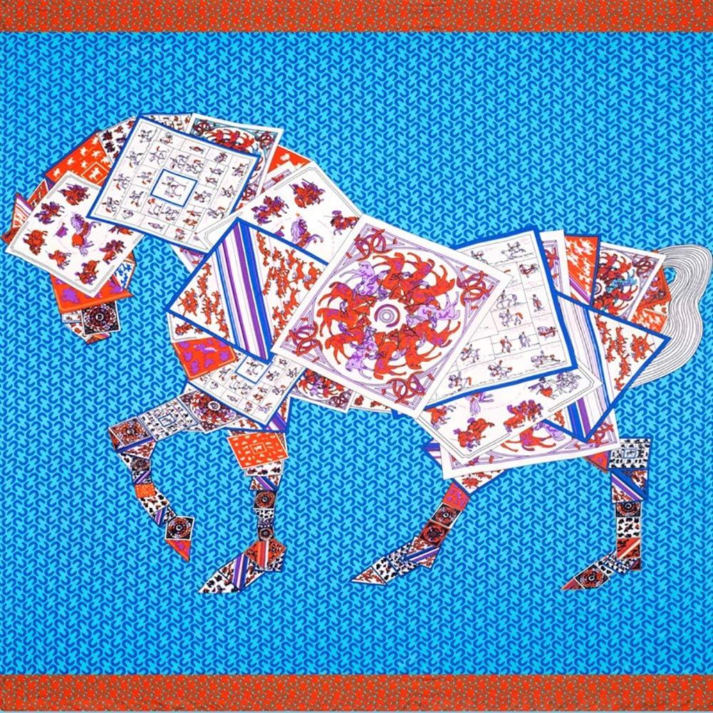 ClothHouse Bufanda Cuadrada para Mujer - Bufandas De Caballo De Póker - Bufanda con Cuello Chal Elegante/Ligero, Regalos, Lakeblue,130 * 130cm