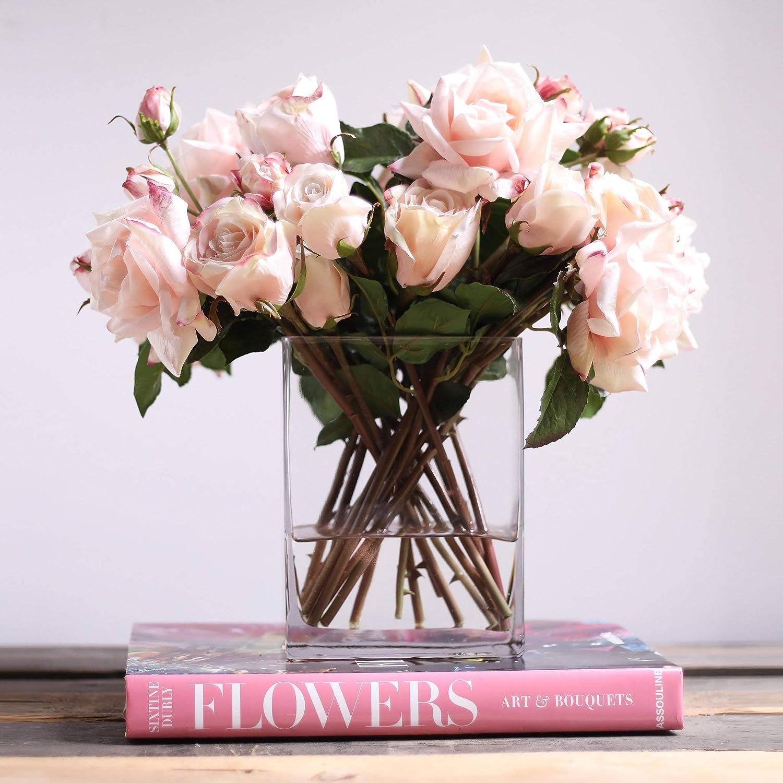 Amazon Com Darby Creek Trading Light Pink Juliette Rose Buds Floral Arrangement In Modern Glass Rectangle Vase Furniture Decor