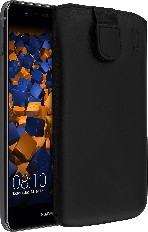 Mumbi Echt Ledertasche Kompatibel Mit Huawei P10 Hülle Leder Tasche Case Wallet Schwarz Elektronik