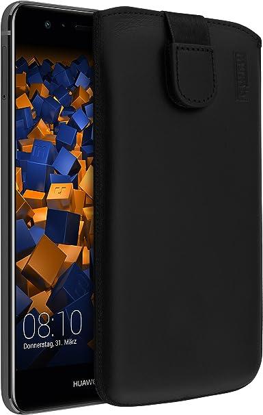 Mumbi Echt Ledertasche Kompatibel Mit Huawei P10 Lite Hülle Leder Tasche Case Wallet Schwarz Elektronik
