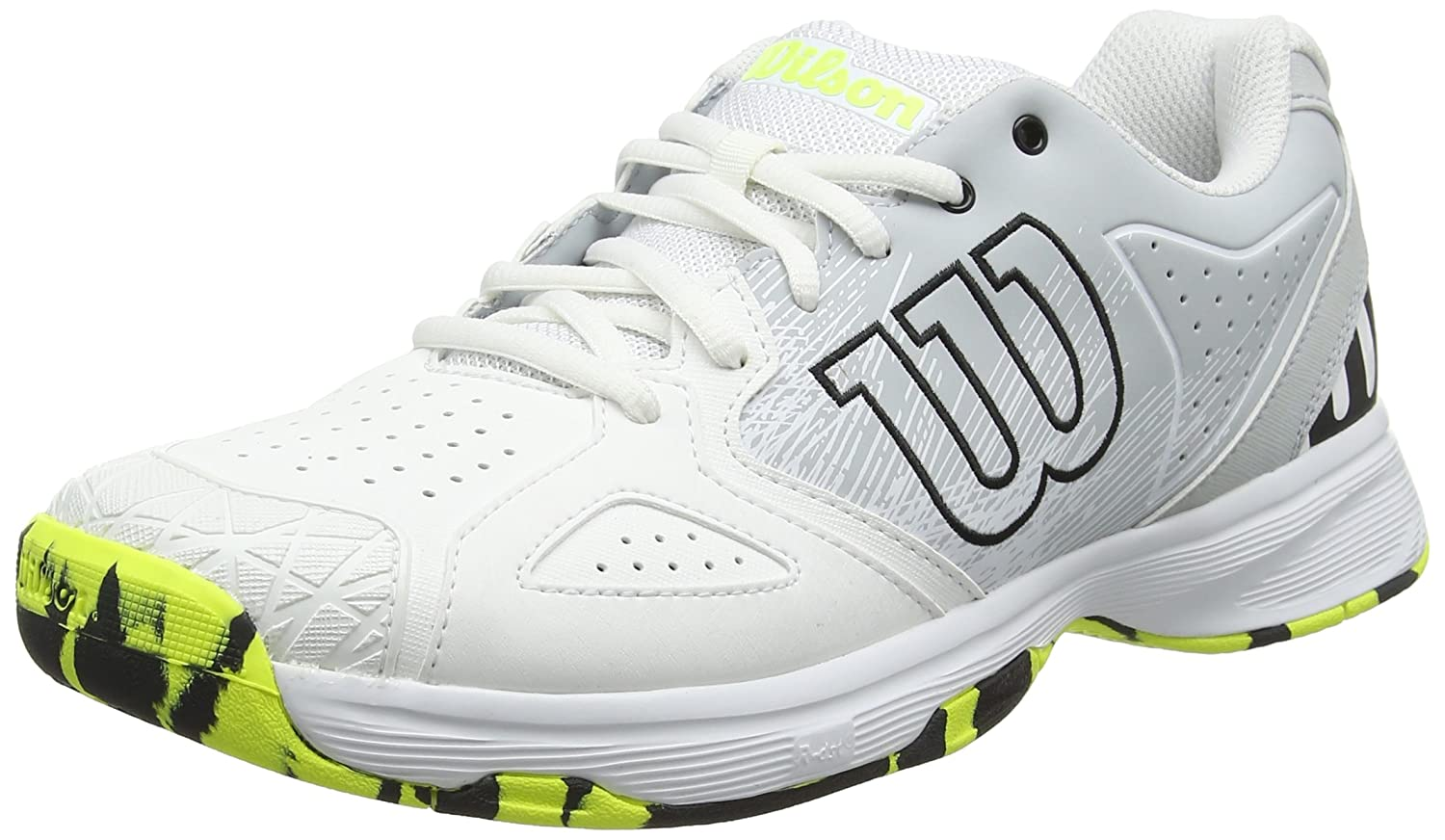 Wilson Kaos Devo, Zapatillas de Tenis para Hombre 42 2/3 EU|Blanco (White / Pearl Blue / Safety Yellow 000)