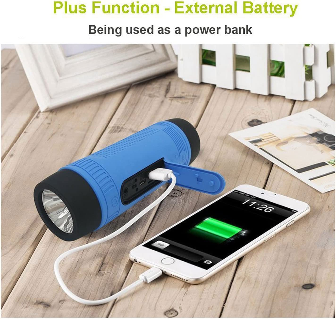 Blue Portable Multifuctional Wireless Bluetooth Speaker 4000mAh Rechargeable Power Bank 3 Mode Emergency Flashlight Handsfree Answering Phone Call TF Card Music Player Mounting Mracket Screw Hole