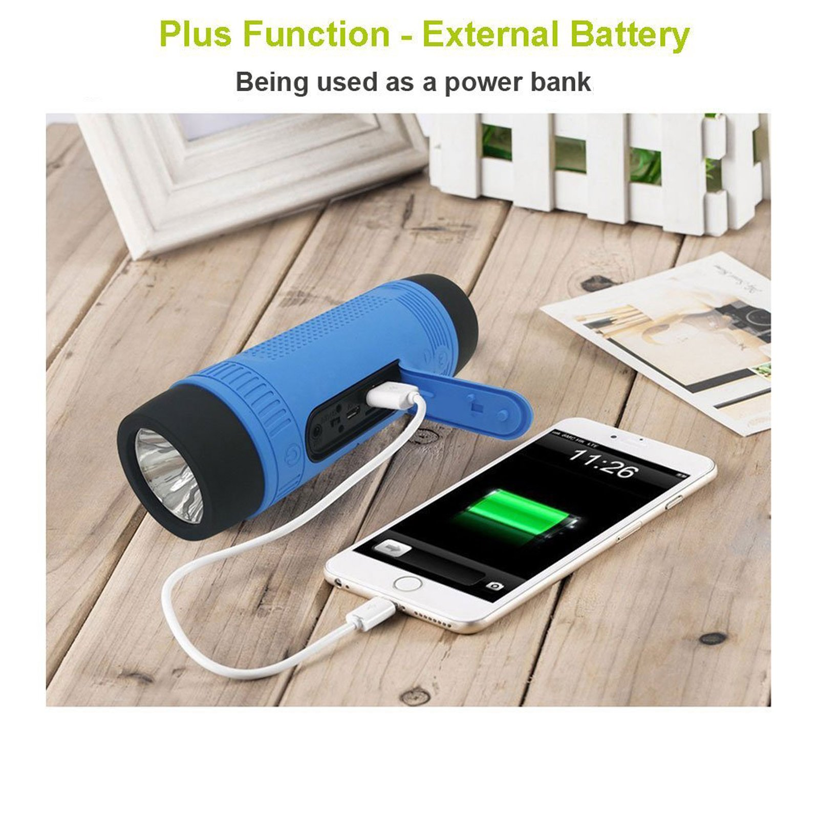Portable Multifuctional Wireless Bluetooth Speaker 4000mAh Rechargeable Power Bank 3 Mode Emergency Flashlight Handsfree Answering Phone Call TF Card Music Player Mounting Mracket Screw Hole (Blue) by Teastar (Image #5)