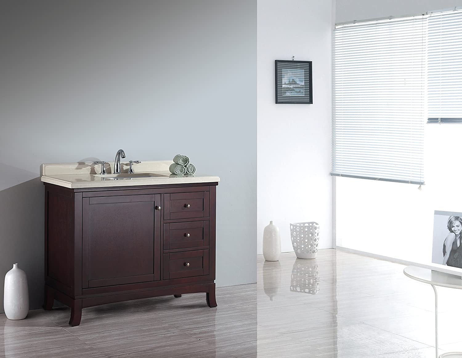 ove decors velega42 bathroom 42inch vanity ensemble with marble countertop and ceramic basin tobacco amazoncom