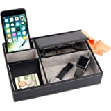 Mantello Valet Tray Nightstand Organizer Leather 5 Compartments, Black