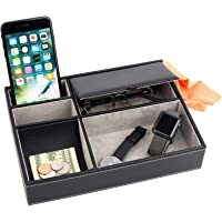 Mantello Valet Tray Nightstand Organizer Leather 5 Compartments Black