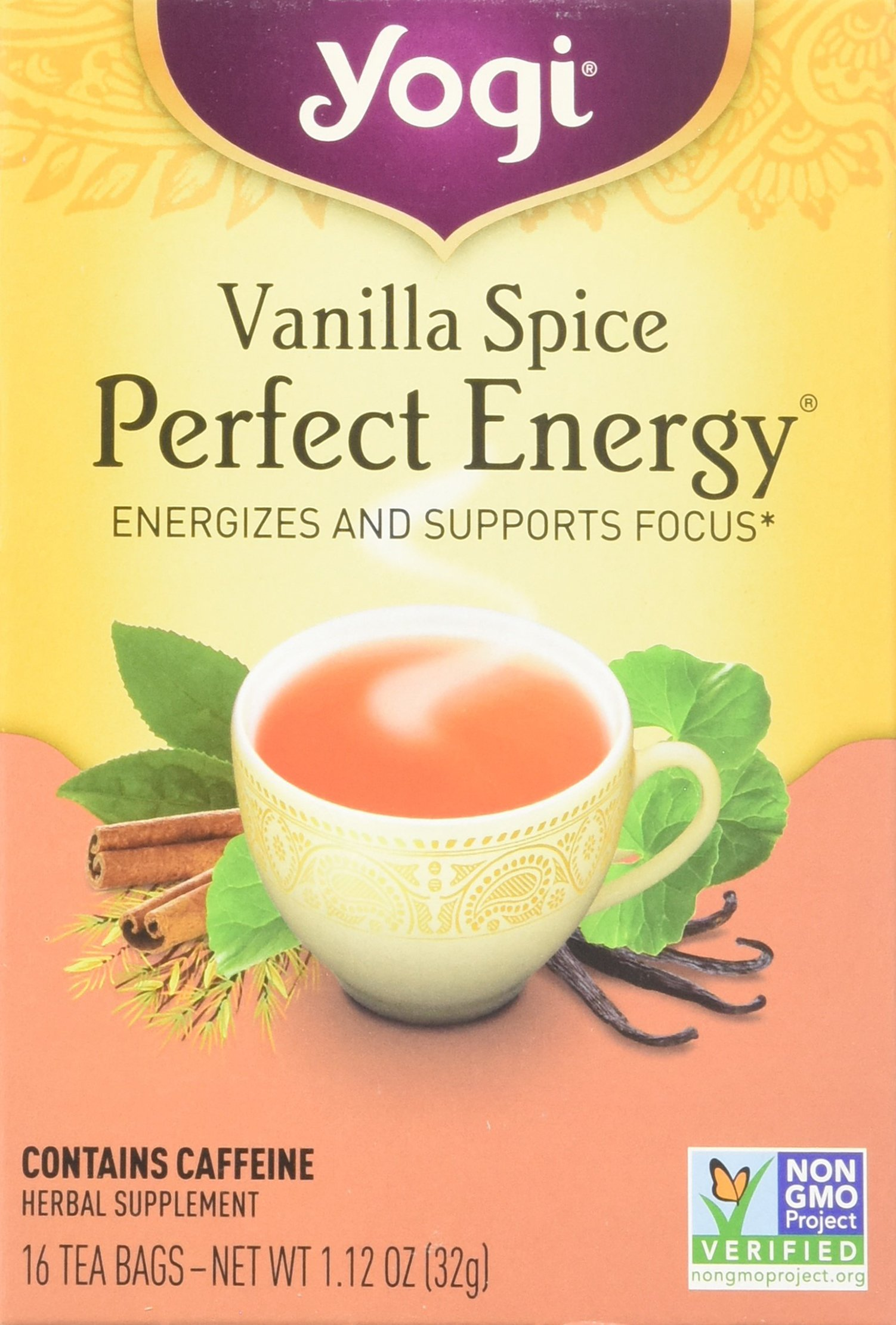 Yogi Tea, Vanilla Spice Perfect Energy, 16 Count (Pack of 6), Packaging May Vary