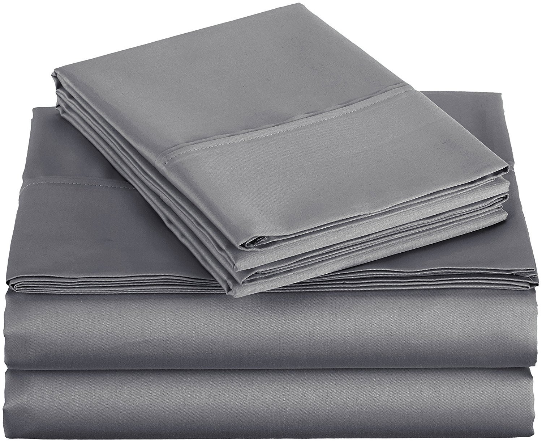 AmazonBasics 400 Thread Count Sheet Set, 100% Cotton, Sateen Finish - Queen, Dark Gray