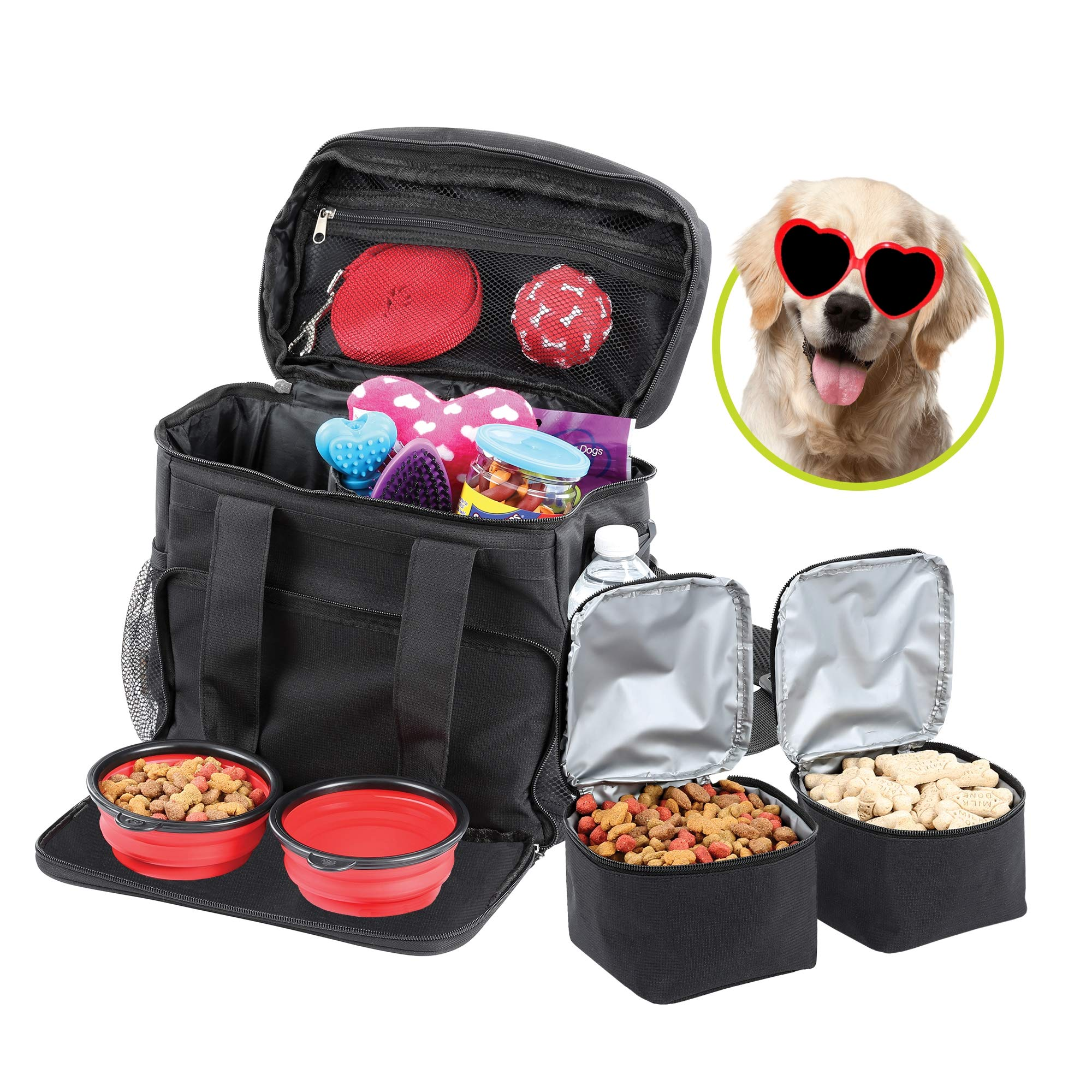 Bundaloo Dog Travel Bag Accessories Supplies Organizer 5-Piece Set with Shoulder Strap | 2 Lined Pet Food Containers, 2 Collapsible Feeding Bowls. Everyday Dogs Essentials by Bundaloo