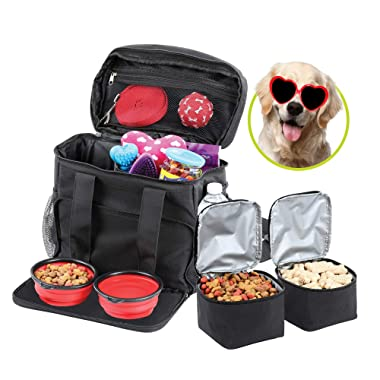 Bundaloo Dog Travel Bag Accessories Supplies Organizer 5-Piece Set with Shoulder Strap   2 Lined Pet Food Containers, 2 Collapsible Feeding Bowls. Everyday Dogs Essentials